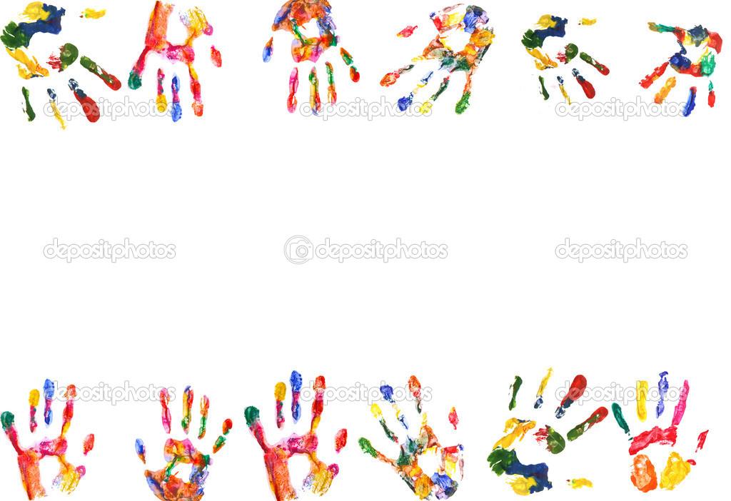 Rahmen der Farbe, die Hände zu drucken — Stockfoto © belchonock ...