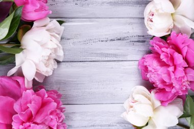 Peonies on color wooden background