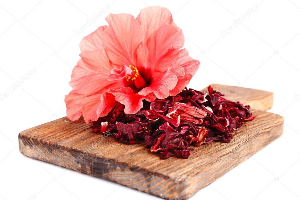 Hibiskus-Tee und isoliert auf weiss Blume — Stockfoto © belchonock ...