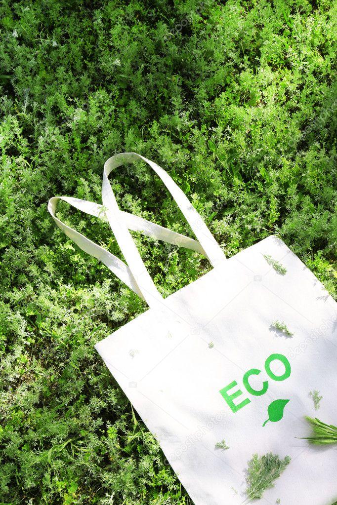 Eco bag on green grass
