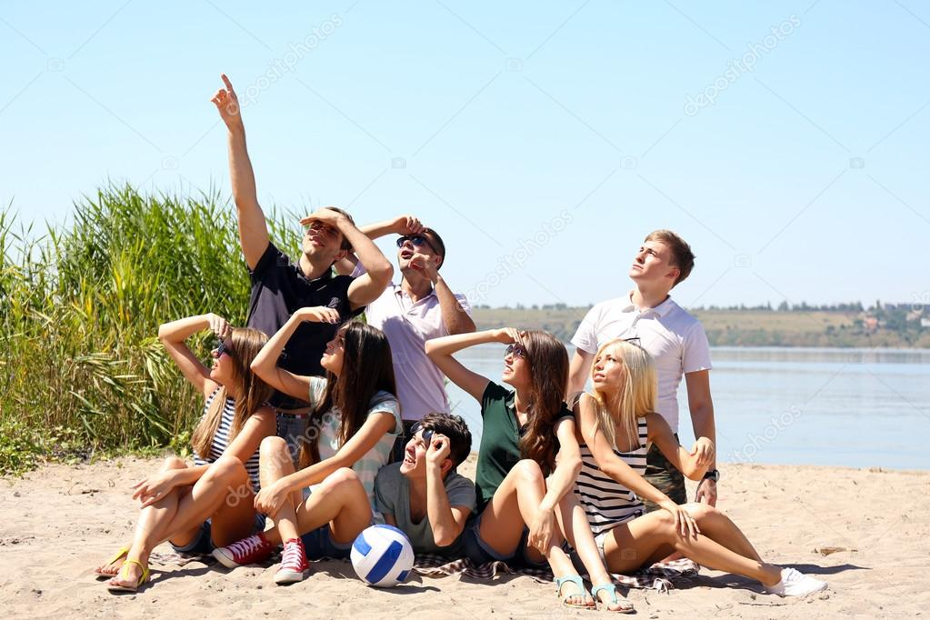 Group of friends with ball