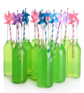 Bottles of drink with straws
