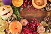 Skladba pro halloween se na dřevěný stůl detail