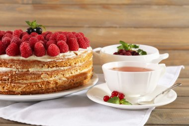 Tasty cake with fresh berries