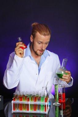 Crazy scientist in laboratory