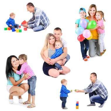 Set photos of happy families