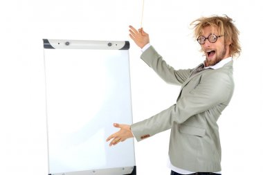 Funny businessman with board