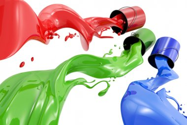 Pouring paints of CMYK colors from its buckets