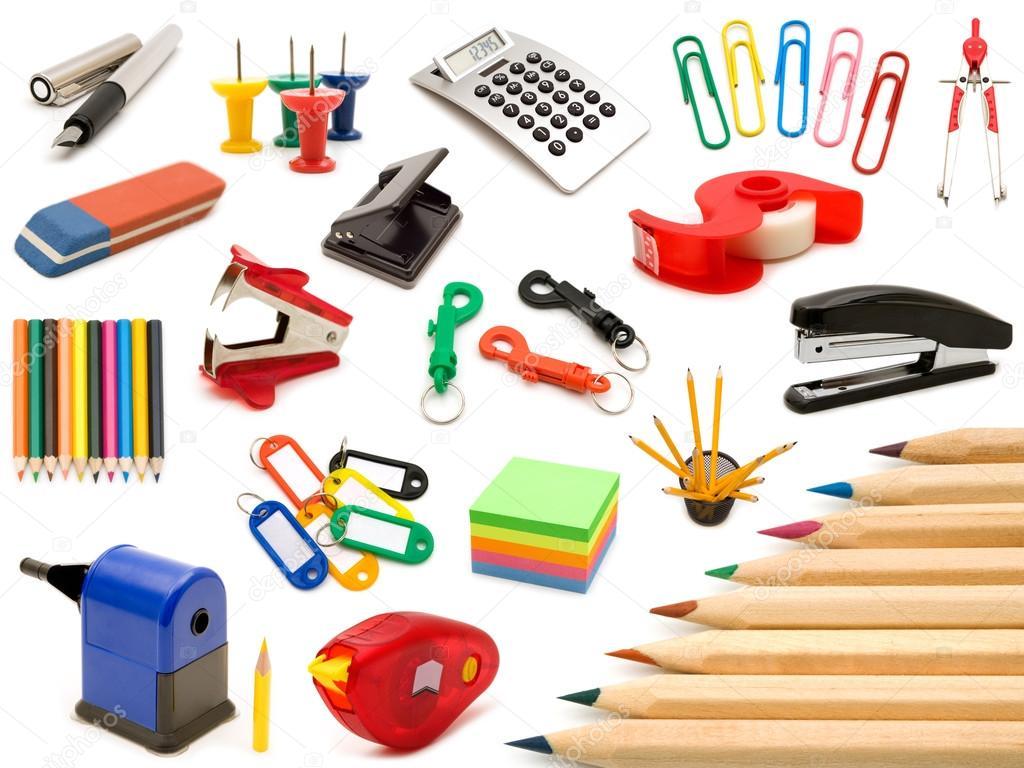 marco de suministros escolares y de oficina, sobre fondo blanco ...
