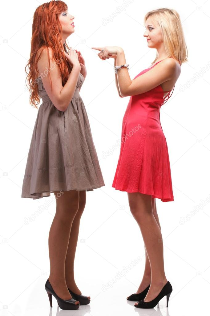 Two pretty women ginger with blonde in gowns on white — Stock Photo ...