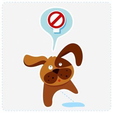 Cute cartoon dog with sign