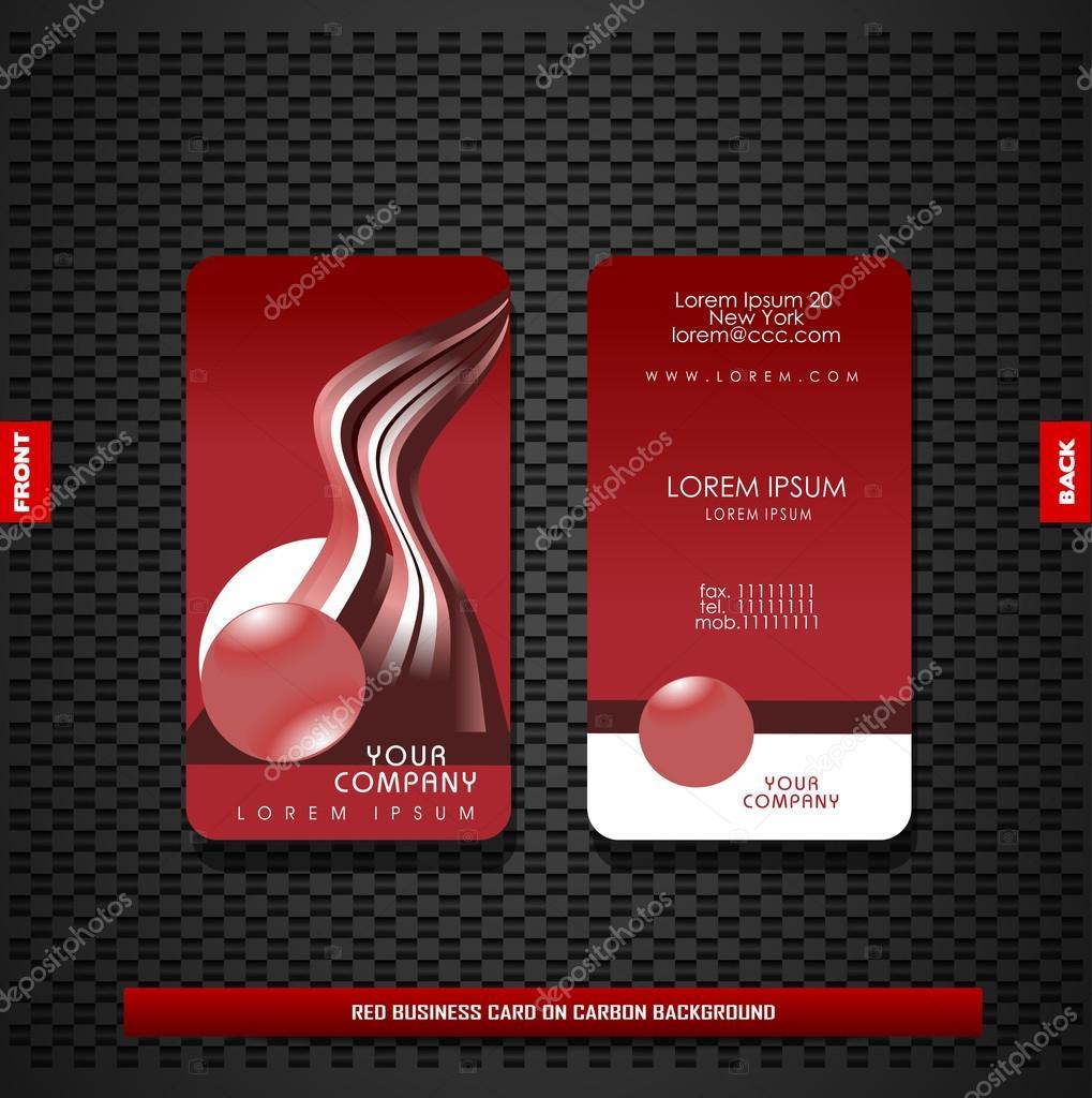 Rote Visitenkarte Auf Kohlenstoff Hintergrund Stockvektor