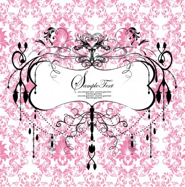 Pink floral background with abstract chandelier clip art vector