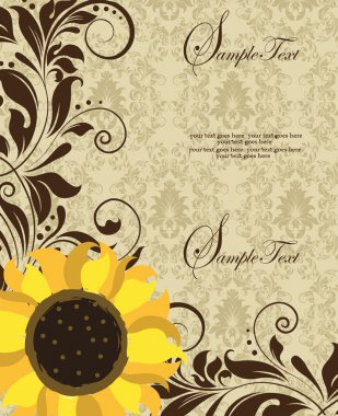 Sunflower Wedding Invitation. Brown and Yellow