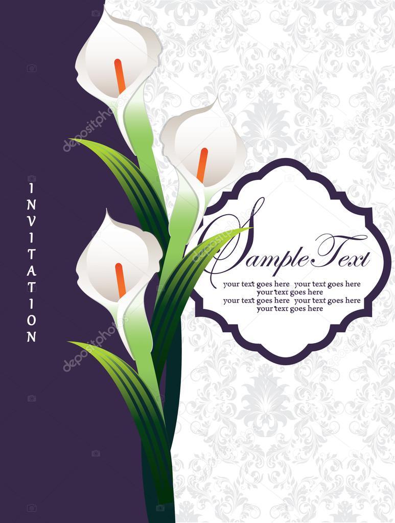 Calla lily, wedding invitation card — Stock Vector © imagepluss ...