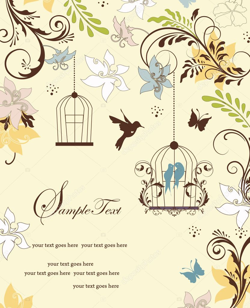 Vintage birdcage wedding invitation card — Stock Vector © imagepluss ...