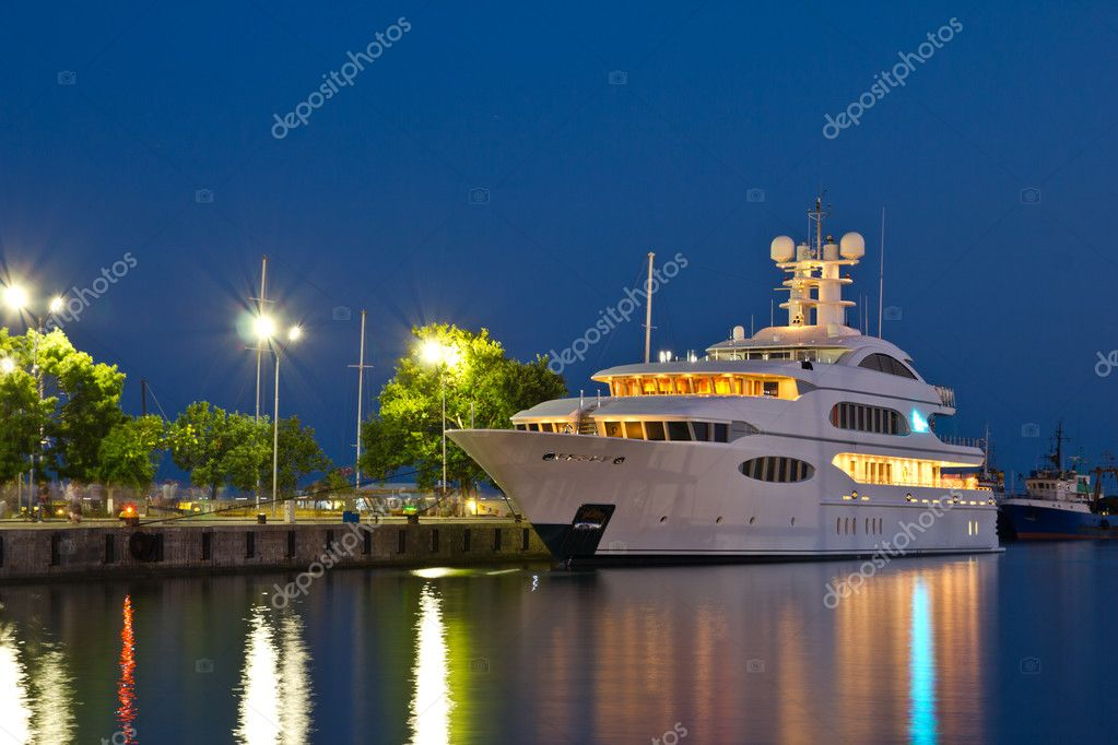 Luxury yacht in the port