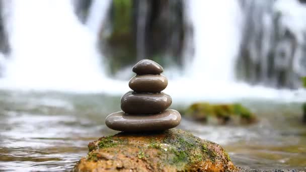 Zen stones and waterfall