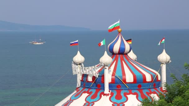 Dome of the circus near the sea