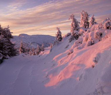 Winter mountain sunset