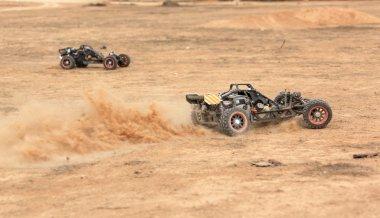 RC buggy race on a desert