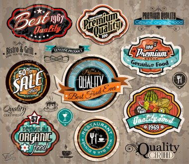 Set of Premium Quality Vintage Label with high contrast colors and water drops. Old style and distressed look, stock vector