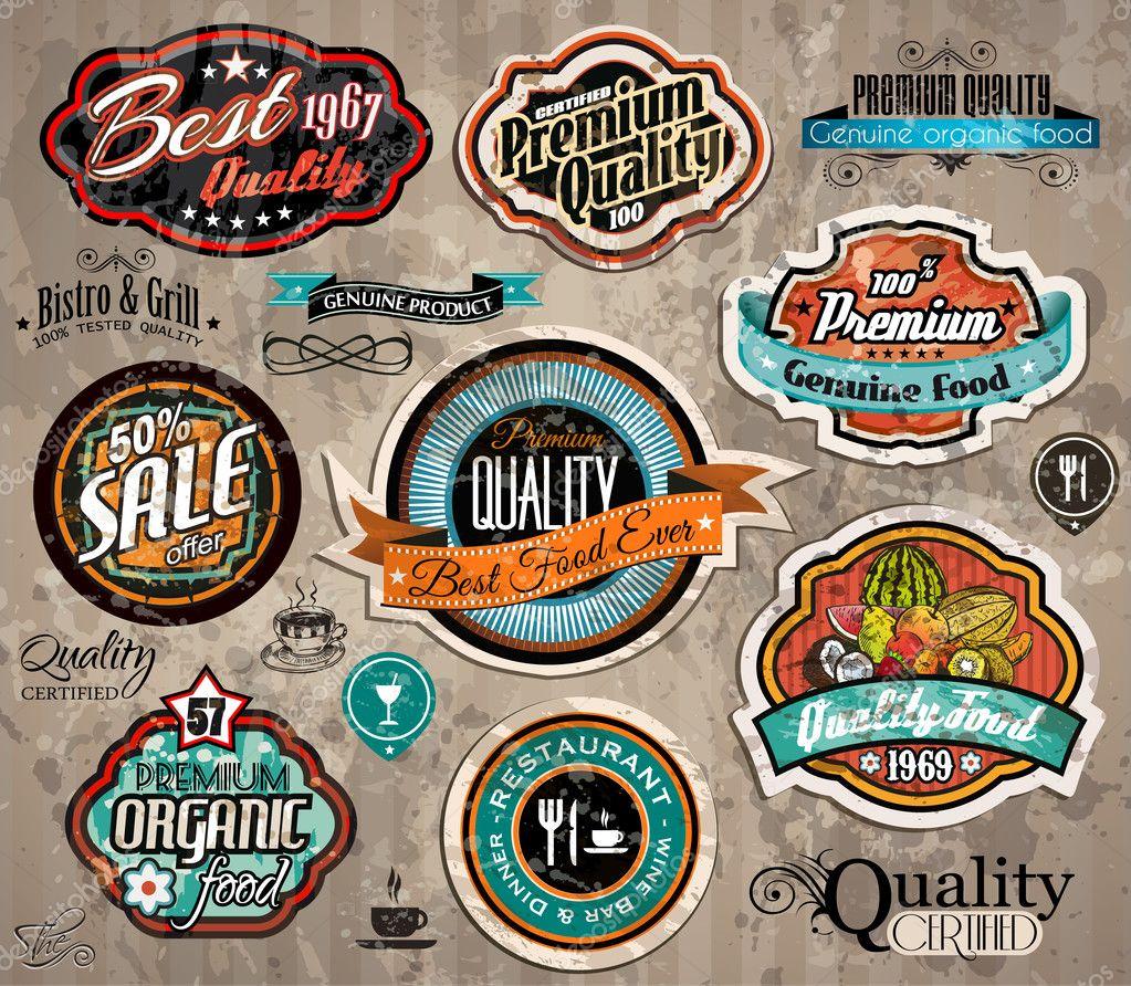 Set of Premium Quality Vintage Labels