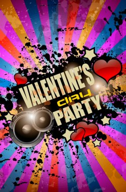 Valentine's Day party flyer background with music and love themed elements. Ideal for nigh disco party posters. clip art vector