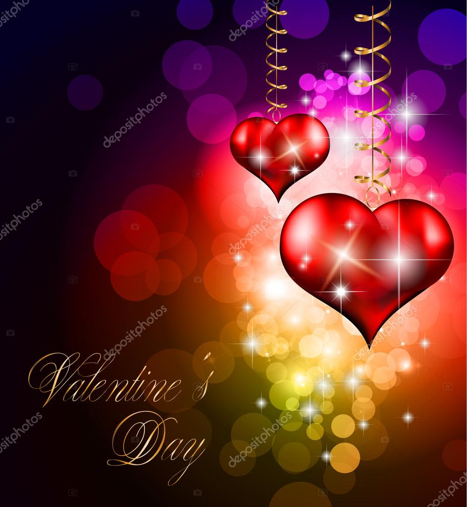 Valentine\'s Day party invitation flyer background — Stock Vector ...