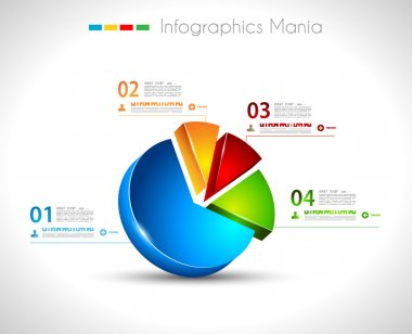 Infographic design template 3D pie