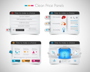Web price shop panel with space for text and buy now button