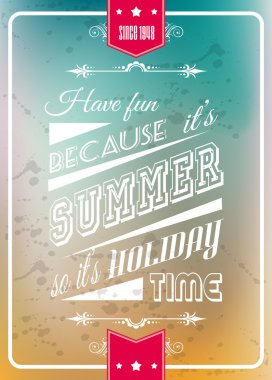 Happy summer poster with a colorful background