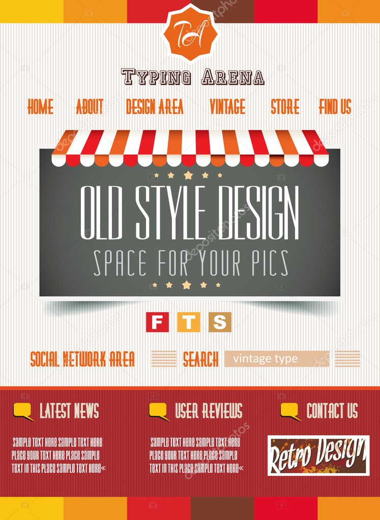 Vintage retro page template for a variety of purposes