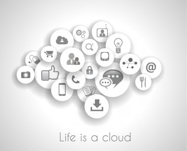 Social network life concept with cloud reference.