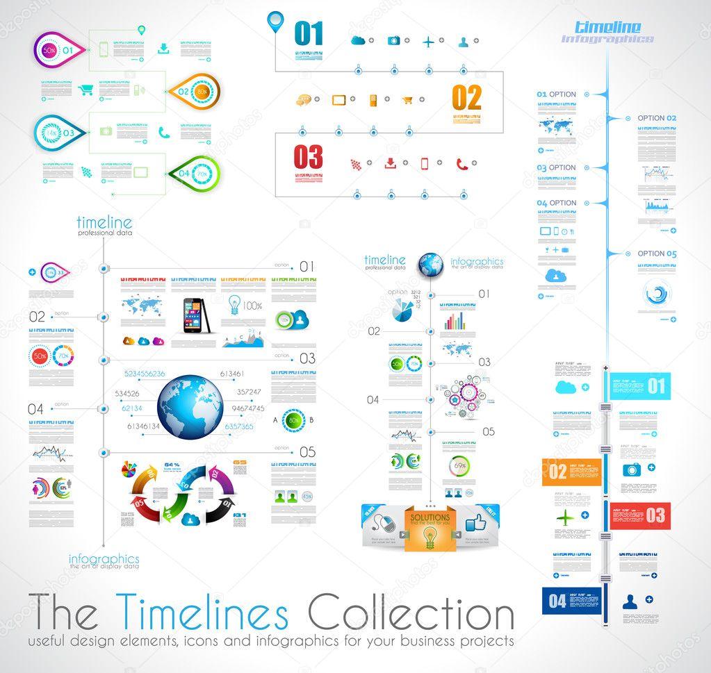 plantilla de diseño de infografía Timeline con etiquetas de papel ...