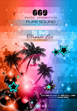 Music Themed background to use for Disco Club Flyers with a lot of abstract design elements, high contrast colors and space for text clip art vector