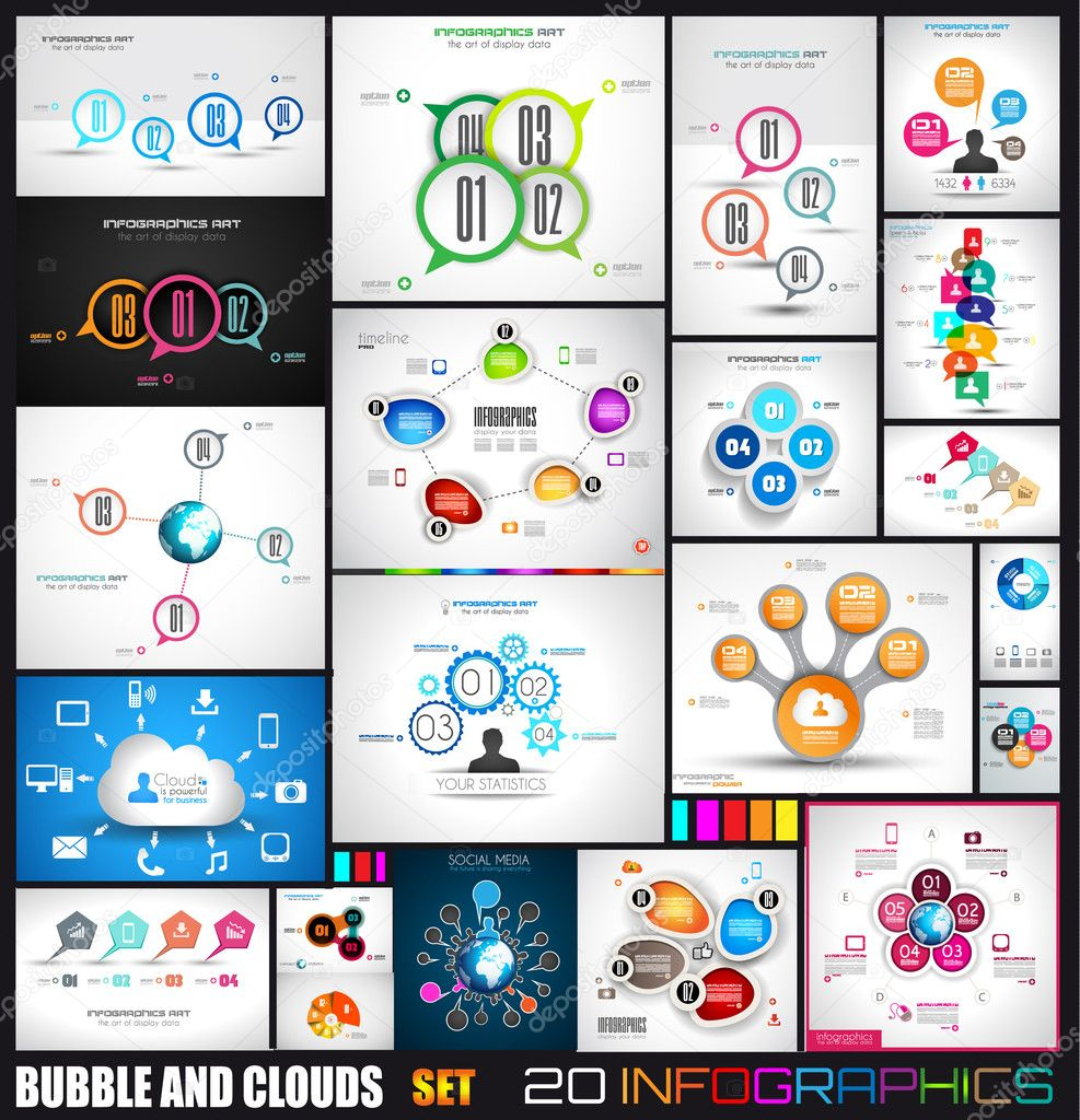 Infographics with bubbles and clouds