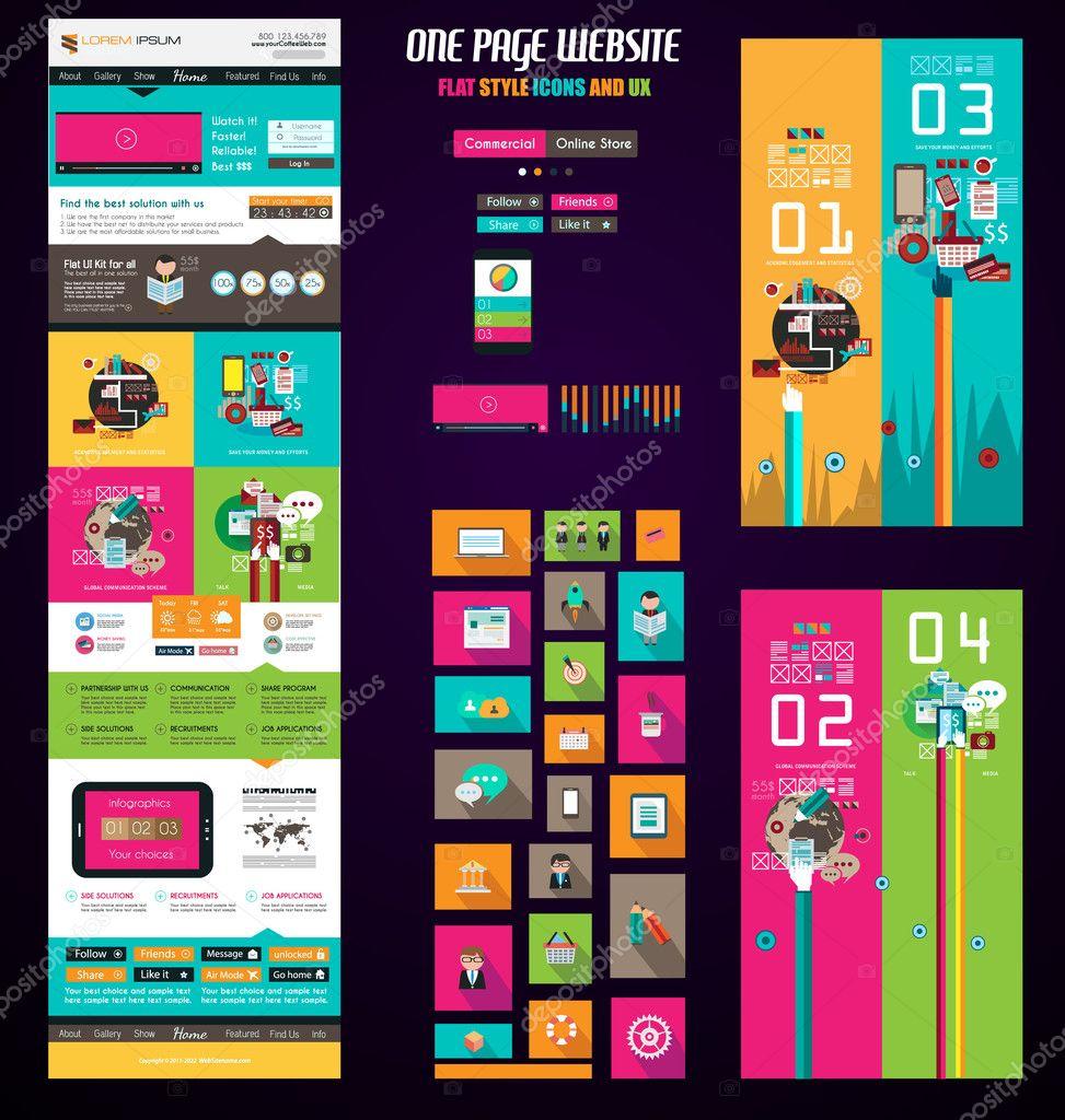 Page website flat UI design template