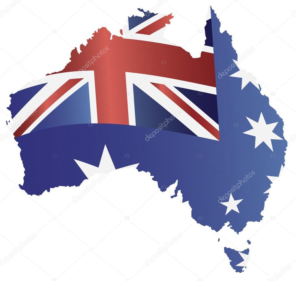 australia flag in map silhouette illustration u2014 stock vector