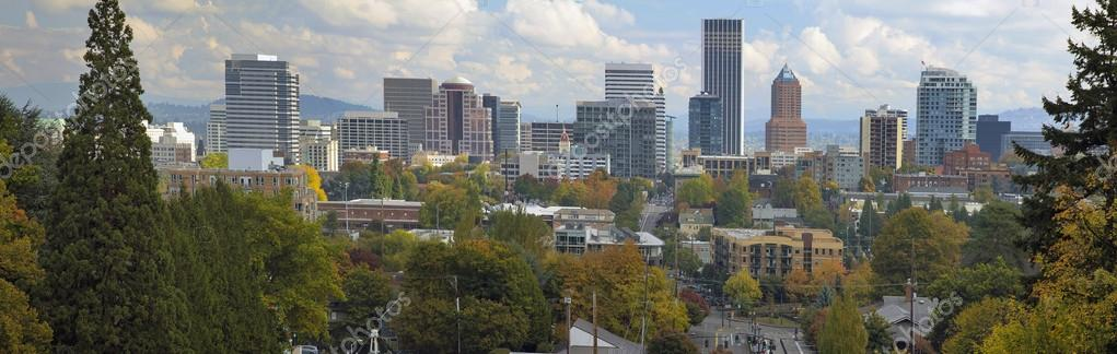 Portland Oregon Downtown City Skyline in Autumn