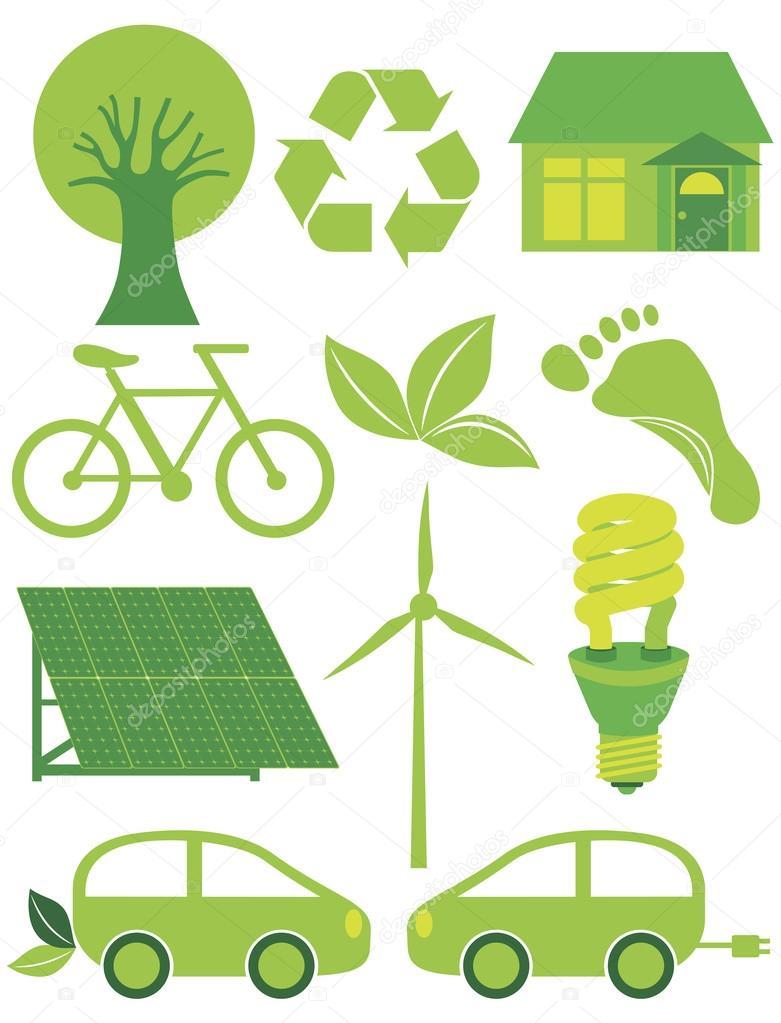 Go Green Eco Symbols Ilustration