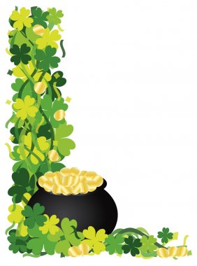 Four Leaf Clover Pot of Gold Border Illustration