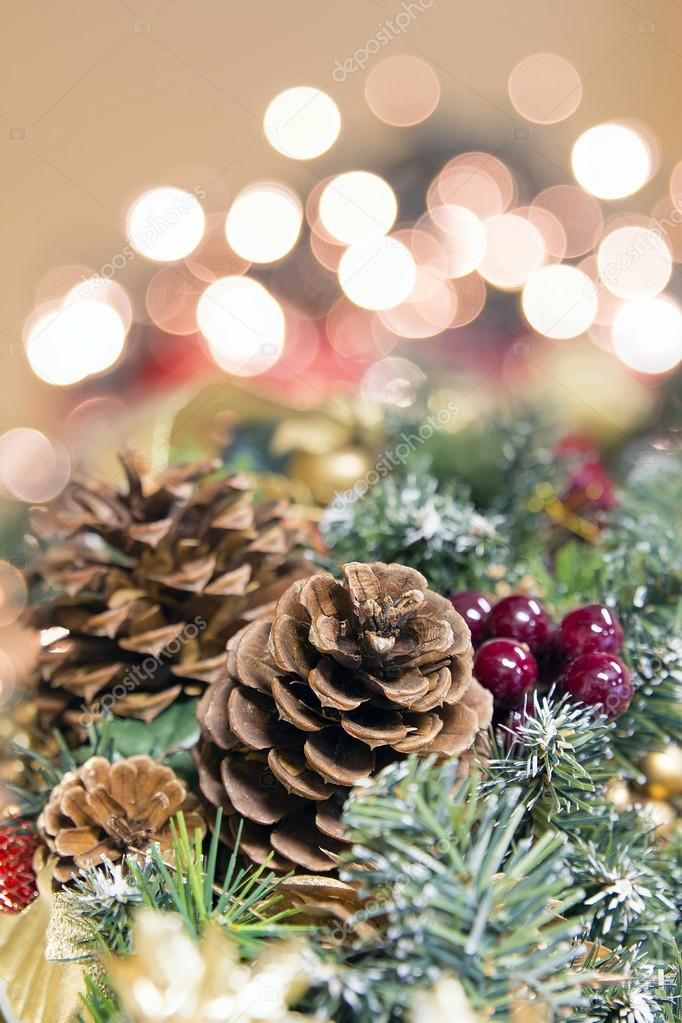 Christmas Garland Decoration With Background Lights