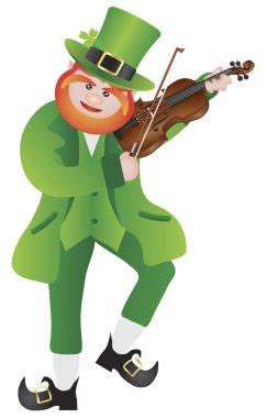 St Patricks Day Leprechaun Playing Violin Illustration