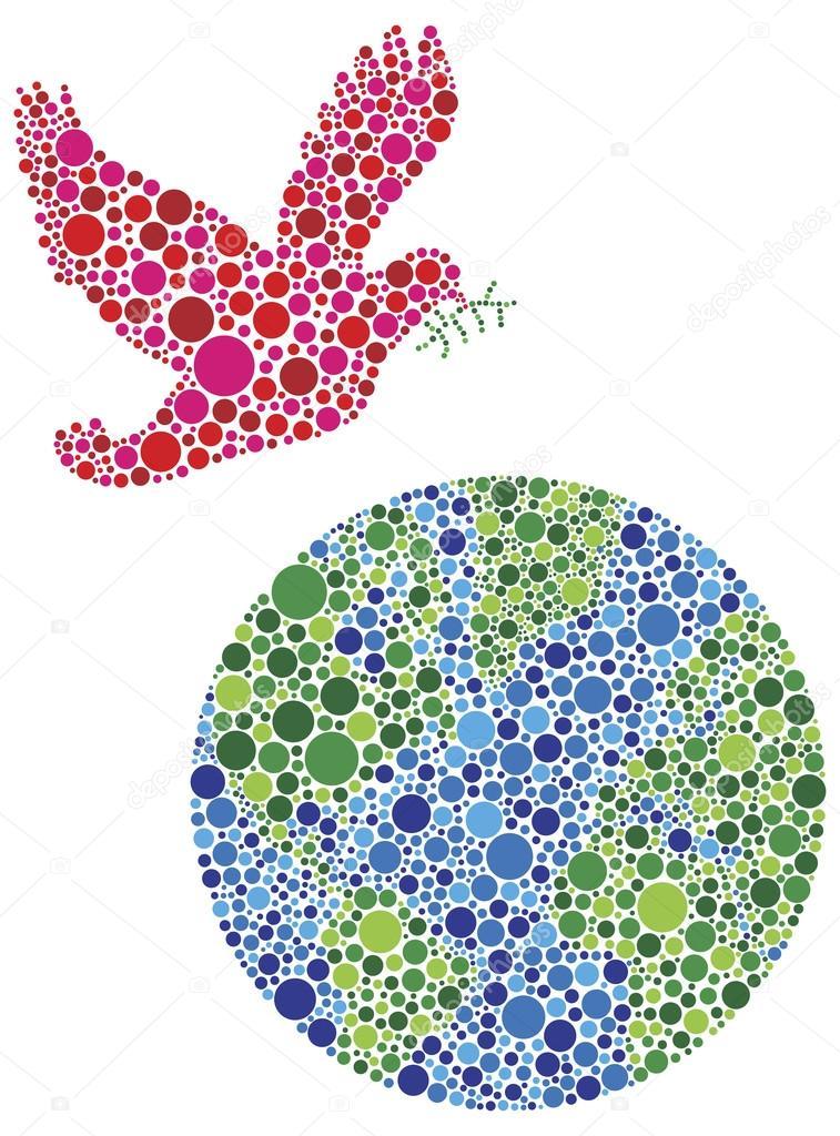 Peace on Earth Dove Dots Illustration