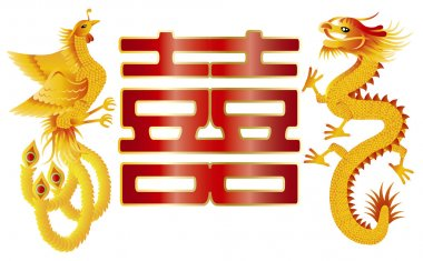 Dragon and Phoenix with Chinese Double Happiness