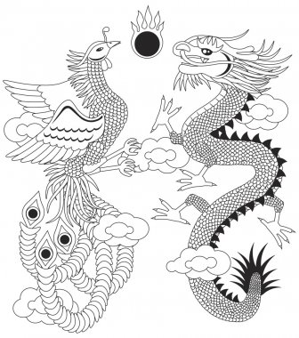Dragon and Phoenix with Clouds Outline Illustration