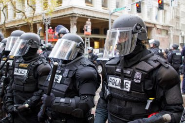 Portland Police in Riot Gear NC-17 Protest