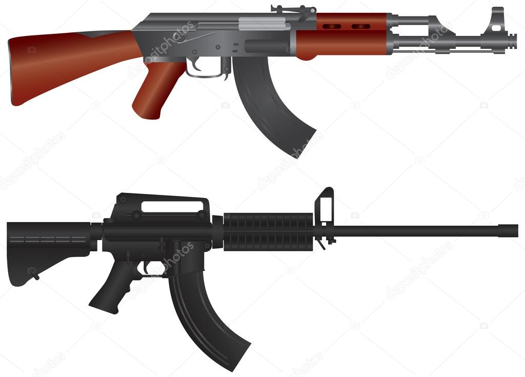 Assault Rifles AR 15 and AK 47 Semi Automatic Weapons Illustration Isolated on White Background stock vector