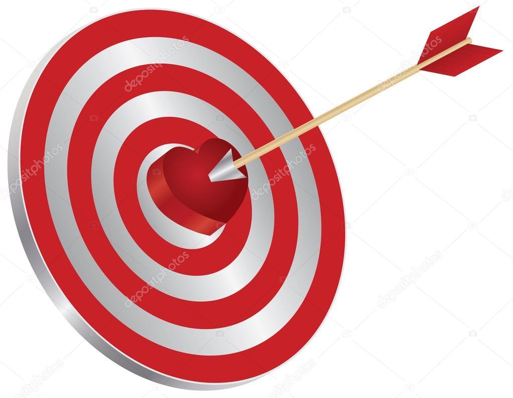 Flecha En El Diagrama De Tiro Al Blanco De Corazón Blanco